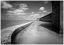 [open edition]   Fort Jefferson moat and seawall. Dry Tortugas  National Park ( black and white)
