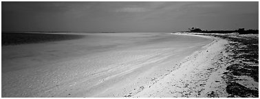 Deserted tropical beach with turquoise water. Dry Tortugas National Park (Panoramic black and white)