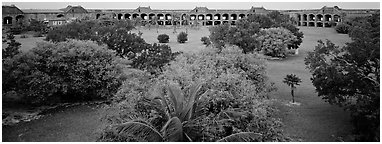 Grassy courtyard of Fort Jefferson. Dry Tortugas National Park (Panoramic black and white)