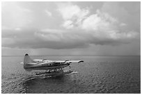 Seaplane and ocean. Dry Tortugas National Park, Florida, USA. (black and white)