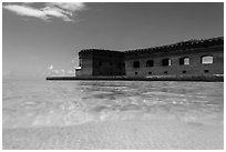 Split view of Fort Jefferson and clear sandy bottom. Dry Tortugas National Park ( black and white)