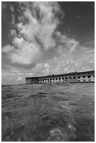 Fort Jefferson see at water level. Dry Tortugas National Park ( black and white)