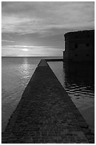 Fort Jefferson seawall and moat at sunset. Dry Tortugas National Park ( black and white)