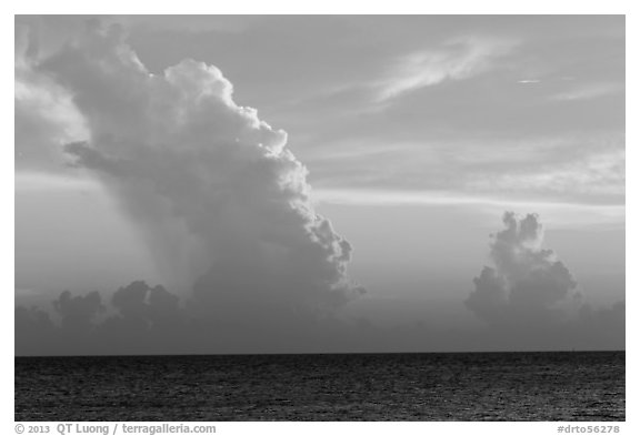Tropical clouds at sunset. Dry Tortugas National Park (black and white)