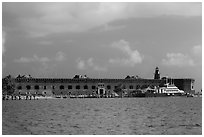 Fort Jefferson from water. Dry Tortugas National Park ( black and white)