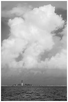 Loggerhead key and lighthouse and tropical cloud. Dry Tortugas National Park, Florida, USA. (black and white)