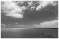 Turquoise ocean waters and Loggerhead key. Dry Tortugas National Park ( black and white)