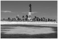 Loggerhead Light and turquoise waters, Loggerhead Key. Dry Tortugas National Park ( black and white)