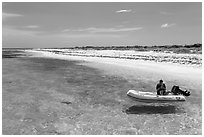 Dinghy on clear waters, Loggerhead Key. Dry Tortugas National Park ( black and white)