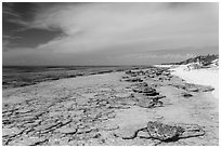 Beach and reef, Loggerhead Key. Dry Tortugas National Park ( black and white)