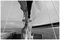 Fort Jefferson seen through sails. Dry Tortugas National Park ( black and white)