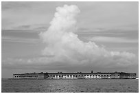 Fort Jefferson and cloud seen from the West. Dry Tortugas National Park ( black and white)