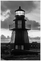 Harbor Light and gun at sunset. Dry Tortugas National Park, Florida, USA. (black and white)
