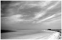 Sky, turquoise waters and beach on Bush Key. Dry Tortugas National Park, Florida, USA. (black and white)