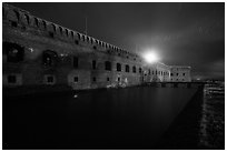 Fort Jefferson at night with Harbor Light. Dry Tortugas National Park ( black and white)