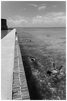 Snorkelers next to Fort Jefferson seawall. Dry Tortugas National Park ( black and white)