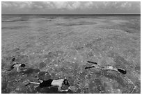 Snorkelers and reef, Garden Key. Dry Tortugas National Park ( black and white)