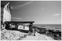 Shack and pier on Loggerhead Key. Dry Tortugas National Park ( black and white)