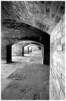 Casemate on the first floor of Fort Jefferson. Dry Tortugas National Park ( black and white)