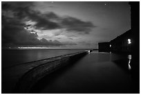 Fort Jefferson at dusk with stars. Dry Tortugas National Park ( black and white)
