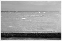 Seawall battered by surf on a stormy day. Dry Tortugas National Park ( black and white)