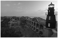 Fort Jefferson lighthouse and inner courtyard, dawn. Dry Tortugas National Park ( black and white)