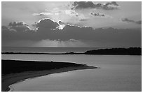 Sunrise over Long Key and Bush Key. Dry Tortugas National Park, Florida, USA. (black and white)