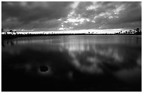 Stormy sunset at Pine Glades Lake. Everglades National Park, Florida, USA. (black and white)