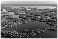 Aerial view of Ten Thousand Islands and Chokoloskee Bay. Everglades National Park ( black and white)