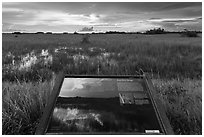 Shark River Slough interpretative sign. Everglades National Park, Florida, USA. (black and white)