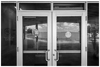 Florida Bay, Flamingo visitor center window reflexion. Everglades National Park, Florida, USA. (black and white)