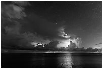 Lightening over Florida Bay seen from the Keys at night. Everglades National Park ( black and white)