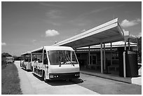 Tram and visitor center, Shark Valley. Everglades National Park ( black and white)