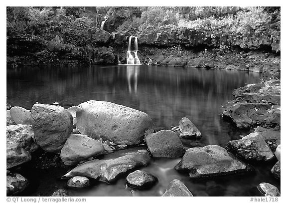 Waterfall in Ohe o gorge, evening. Haleakala National Park (black and white)
