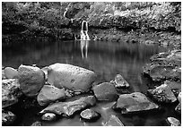 Waterfall in Ohe o gorge, evening. Haleakala National Park ( black and white)