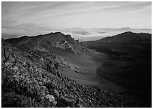 Haleakala crater and clouds at sunrise. Haleakala National Park, Hawaii, USA. (black and white)