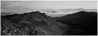 Crater and sea of clouds at sunrise. Haleakala National Park (Panoramic black and white)
