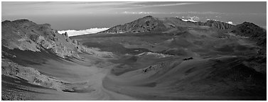Volcanic landscape with brightly colored ash. Haleakala National Park (Panoramic black and white)