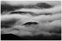 Cinder cones emerging from clouds. Haleakala National Park ( black and white)
