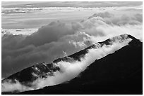 Crater ridges with clouds. Haleakala National Park ( black and white)