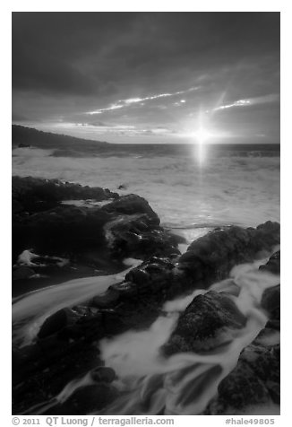 Sunrise over stormy ocean. Haleakala National Park (black and white)