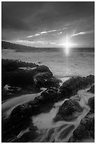 Sunrise over stormy ocean. Haleakala National Park, Hawaii, USA. (black and white)