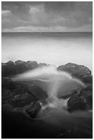 Surf, rocks, ocean and clouds, long exposure. Haleakala National Park ( black and white)