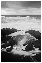 Surf, rocks, ocean and clouds. Haleakala National Park ( black and white)