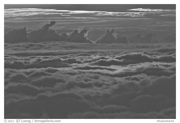 Sea of clouds at sunset. Haleakala National Park (black and white)