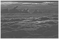 Sea of clouds at sunset. Haleakala National Park ( black and white)