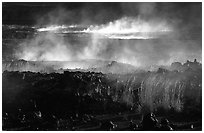 Fumeroles and lava near Halemaumau. Hawaii Volcanoes National Park, Hawaii, USA. (black and white)