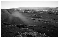 Halemaumau crater overlook and Mauna Loa, sunrise. Hawaii Volcanoes National Park, Hawaii, USA. (black and white)