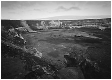 Halemaumau crater, fumeroles, Mauna Loa shield volcano, sunrise. Hawaii Volcanoes National Park, Hawaii, USA. (black and white)
