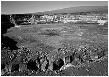 Crack, Halemaumau crater overlook,  Mauna Loa, early morning. Hawaii Volcanoes National Park ( black and white)